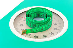 Measuring Tape On Weight Scale Royalty Free Stock Photos