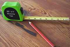 Measuring Tape and Pencil Stock Image