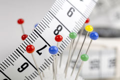 Measuring Tape and Pins Royalty Free Stock Photo