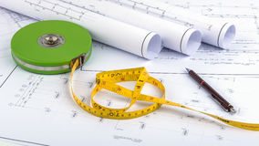 Measuring Tape and plan drawing Stock Photography