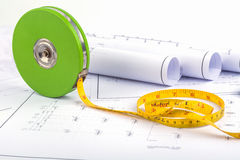 Measuring Tape and plan drawing Stock Photos