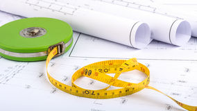 Measuring Tape and plan drawing Royalty Free Stock Photos