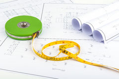 Measuring Tape and plan drawing Royalty Free Stock Photography