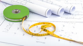 Measuring Tape and plan drawing Stock Image