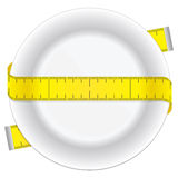 Diet plate. Measuring tape and plate as a conceptual diet icon Royalty Free Stock Photo