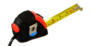 Measuring tape. Red measuring tape on white background Stock Photography