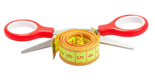 Measuring tape and scissors Royalty Free Stock Images
