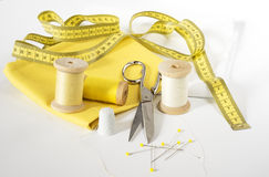 Measuring tape and sewing accessories Royalty Free Stock Photo