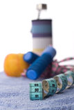 Measuring tape and sport equipment Stock Photo