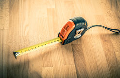 Measuring tape on table Stock Photos