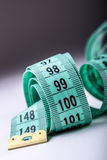 Measuring tape of the tailor. Closeup view of white measuring tape Royalty Free Stock Photography