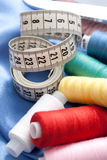 Measuring tape and threads Royalty Free Stock Photography
