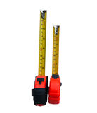 Measuring Tape. Two vertical red tape on a white background Stock Images