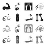 Measuring tape, water bottle, treadmill, dumbbells. Fitnes set collection icons in black,monochrome style vector symbol. Stock illustration Stock Images