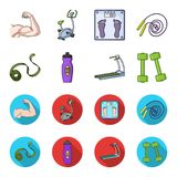 Measuring tape, water bottle, treadmill, dumbbells. Fitnes set collection icons in cartoon,flat style vector symbol. Stock illustration Royalty Free Stock Photography
