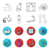 Measuring tape, water bottle, treadmill, dumbbells. Fitnes set collection icons in outline,flet style vector symbol. Stock illustration Stock Photo