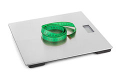 Measuring tape and weight scale Stock Image