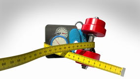 Measuring tape wrapped around Fitness, exercise equipment , Diet concept animation stock video