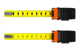 Measuring tapes. With clipping paths Royalty Free Stock Photo