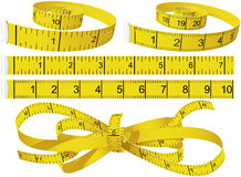 Measuring Tapes. Yellow Measuring Tapes set in different shape in centimeters and inches Stock Photos