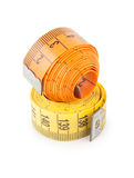 Measuring tapes. On white background Stock Images