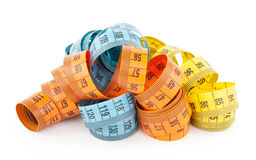 Measuring tapes. On white background Stock Photo