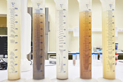 Measuring test tubes with different liquid ib laboratory Stock Image