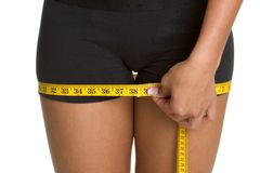 Measuring Thighs. Healthy dieting woman measuring thighs Stock Photography