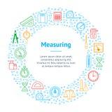 Measuring Thin Line Banner Card Circle. Vector stock illustration