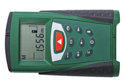 Measuring tool. Laser Distance Measurer on a white background Royalty Free Stock Photo