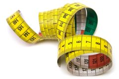 Measuring Tool (Top View). Winding tape measure against white Stock Image