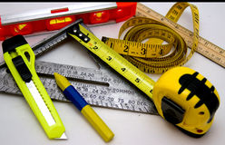 Measuring tools. Various measuring tools and items used by carpenters, craftsmen, etc royalty free stock photo