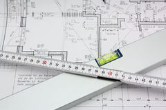 Measuring tools. On a construction drawing Royalty Free Stock Image