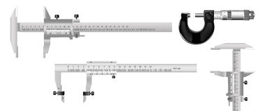 The measuring tools. The measuring tool for quality assurance of details in mechanical engineering and in other manufactures Stock Photo