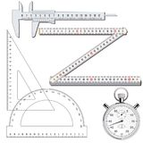Measuring tools. A black and white illustration of different measuring tools royalty free illustration