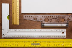 Measuring Tools Engineer. Measuring Instruments engineer on a wooden background Royalty Free Stock Photos