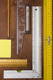 Measuring Tools Engineer. Measuring Instruments engineer on a wooden background Royalty Free Stock Image