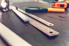 Measuring tools for measuring the accuracy of manufacturing parts stock image