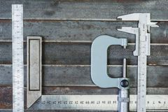 Measuring tools, metal background. Background, texture. royalty free stock images