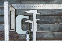 Measuring tools, metal background. Background, texture. Royalty Free Stock Image