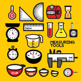 MEASURING TOOLS. This picture collects various devices for measuring physical or quantity. All instruments are always used as an instruments for Laboratory work vector illustration