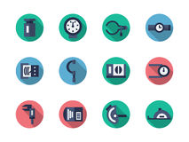 Measuring tools round flat color icons Stock Photos