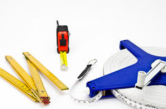 Measuring tools. Several measuring tools for construction Stock Photography
