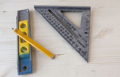 Measuring Tools. Tools used for taking measurements in construction Royalty Free Stock Photos