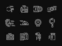 Measuring tools white simple line icons Royalty Free Stock Images