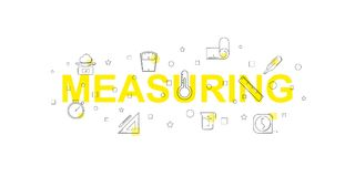 Measuring vector banner. Word with line icon. Vector background Stock Image