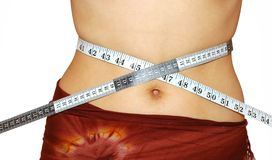 Measuring waist. Over the white background Royalty Free Stock Images