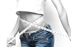Measuring waist Royalty Free Stock Images