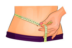 Measuring waist with measuring tape Royalty Free Stock Image