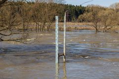 Measuring the water level during the high water on the river in the spring royalty free stock photos